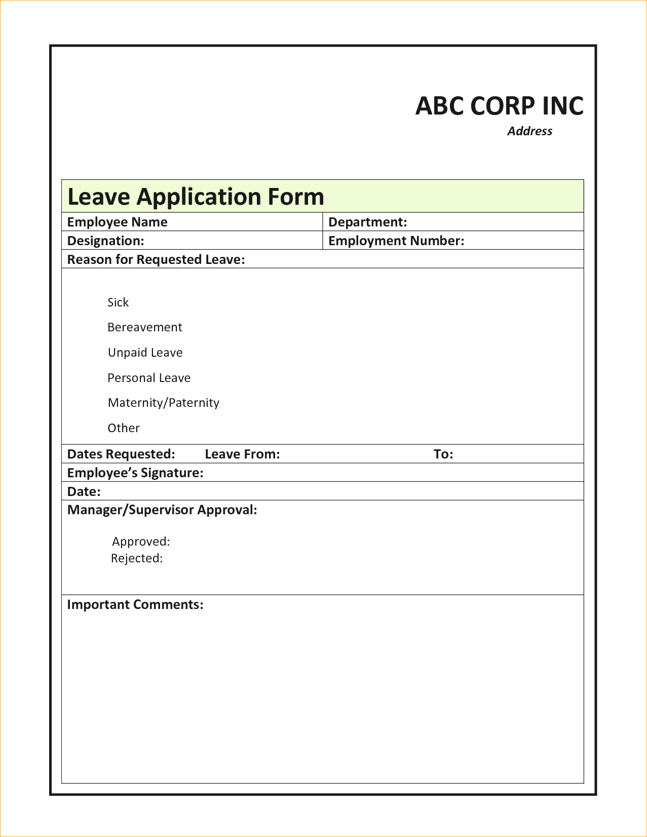 leave application form in word format